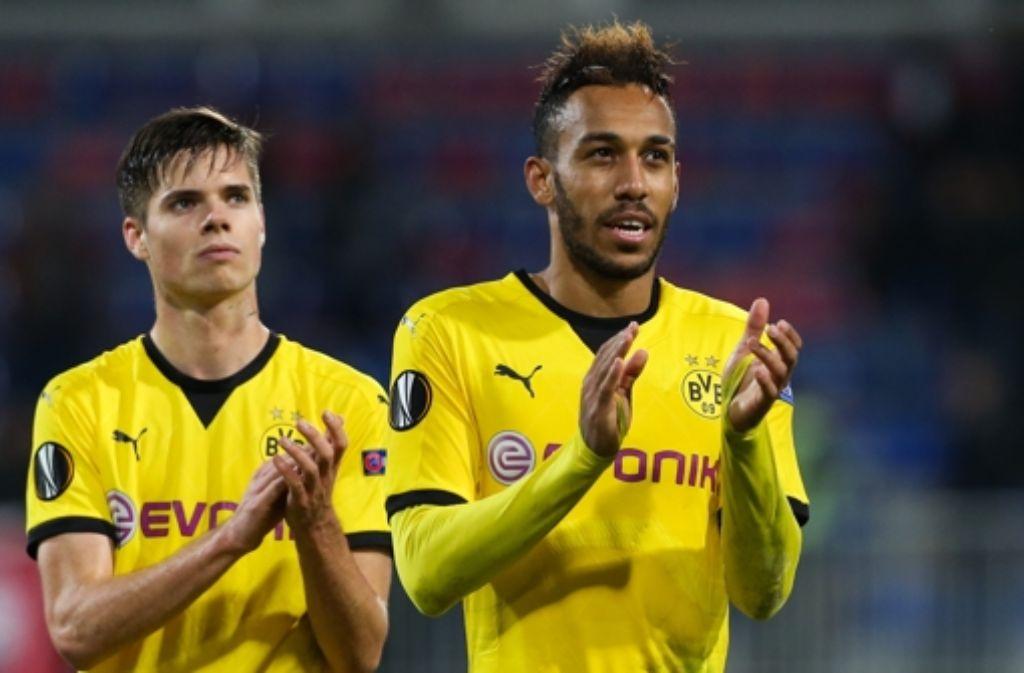 Pierre-Emerick Aubameyang  hat im Europa-League-Spiel bei Qäbälä für Borussia Dortmund gleich dreifach getroffen. Foto: dpa