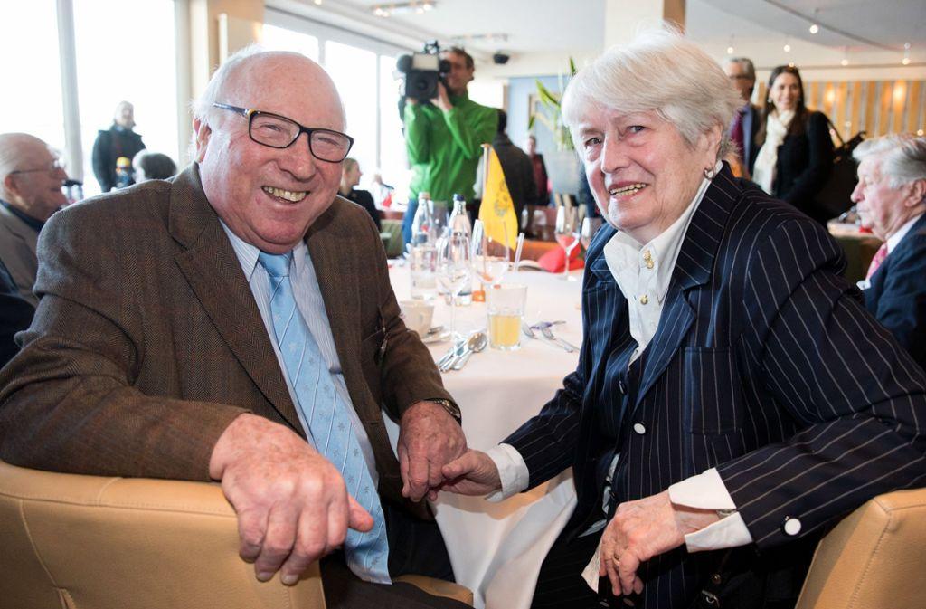 """Uwe Seeler mit Frau Ilka: """"Ilka war mein bester Treffer."""" Foto: dpa"""