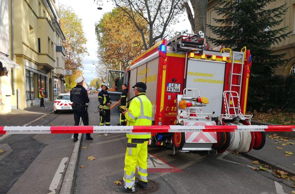 Die Polizei hat am Donnerstag mehrere Straßen in der Ludwigsburger Innenstadt gesperrt. Foto: Andreas Rosar