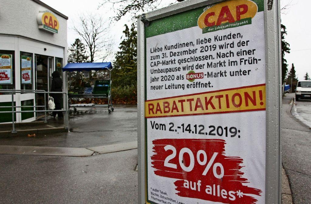 Der Stettener Cap-Markt schließt in wenigen Tagen, zuvor gibt es noch kräftig Nachlass. Foto: Natalie Kanter