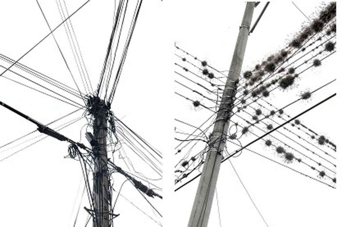 Frank Paul Kistner hat auf der ganzen Welt nach kunstvollem Kabelsalat Ausschau gehalten und sehr unterschiedliche Formationen fotografiert, wie diese zwei Bilder zeigen. Foto: FPK/Frank Paul Kistner