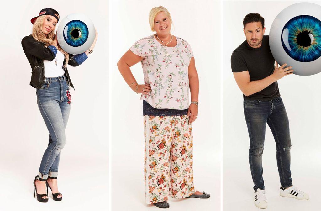 Das sind die drei Überraschungskandidaten: Cora Schuhmacher, Silvia Wollny und David Völz. Foto: Sat.1
