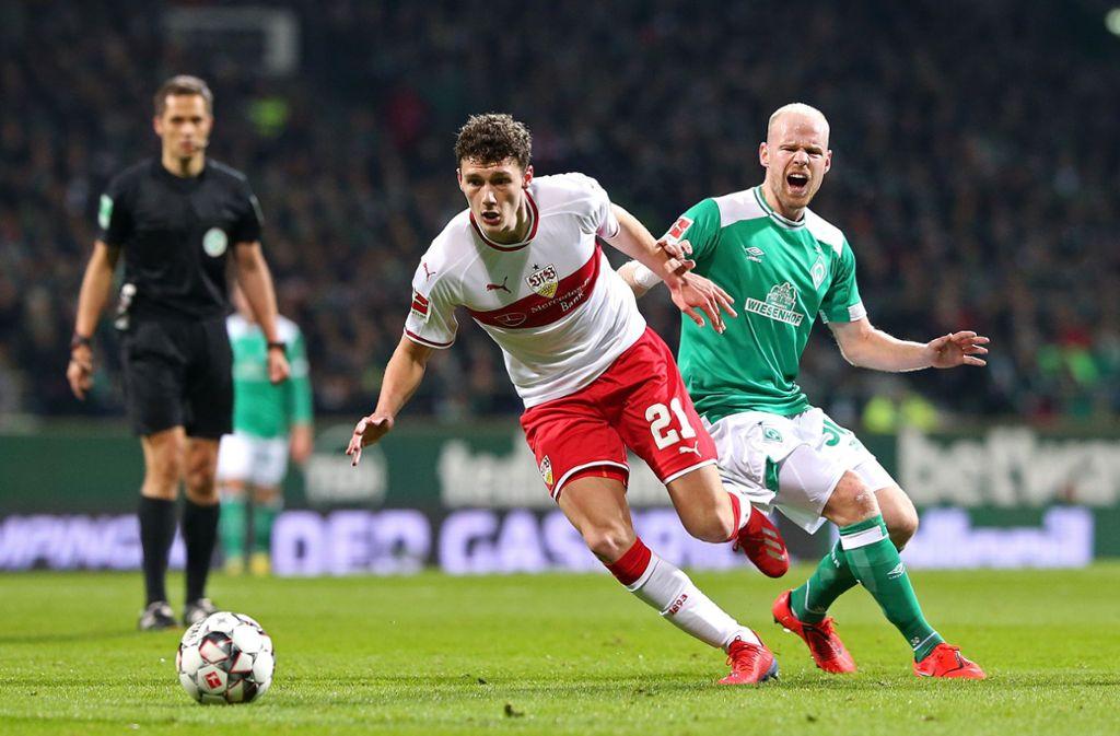 Benjamin Pavard zeigte eine starke Leistung gegen Bremen. Foto: Pressefoto Baumann