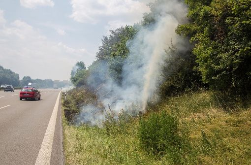 Mehrere Feuer auf dem Grünstreifen