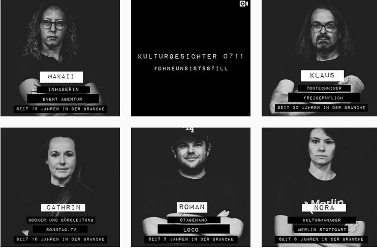 Menschen, die hinter der Bühne Kultur machen, gibt die Initiative #ohneunsistsstill ein Gesicht.  Foto: Instagram/@kulturgesichter0711 (Screenshot)