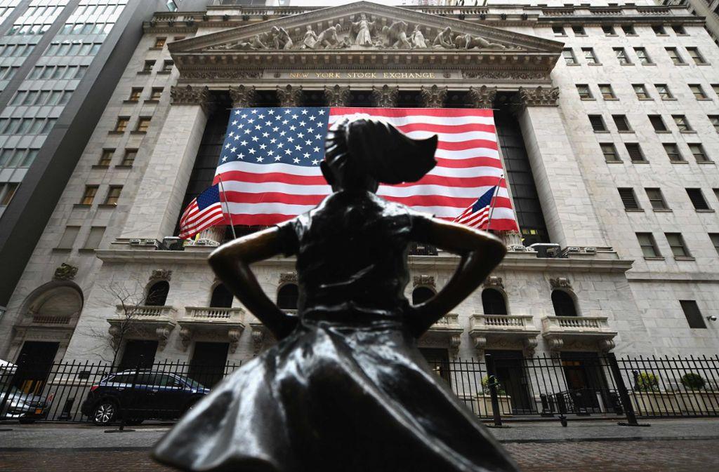 Positive Nachrichten von der Wall Street in der Corona-Krise. Foto: AFP/ANGELA WEISS