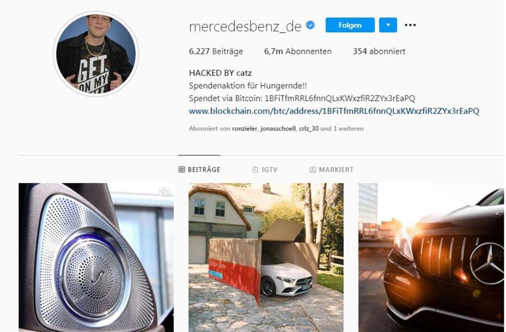 Der deutsche Instagramaccount von Mercedes Benz wurde am Dienstag gehackt. Foto: Screenshot