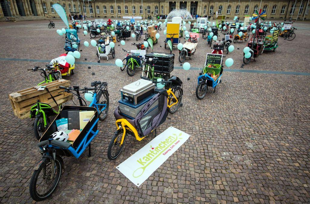 Zeigt her eure Räder, wie hier vor einiger Zeit beim E-Lastenrad-Treffen im Ehrenhof des Neuen Schloss. Foto: dpa
