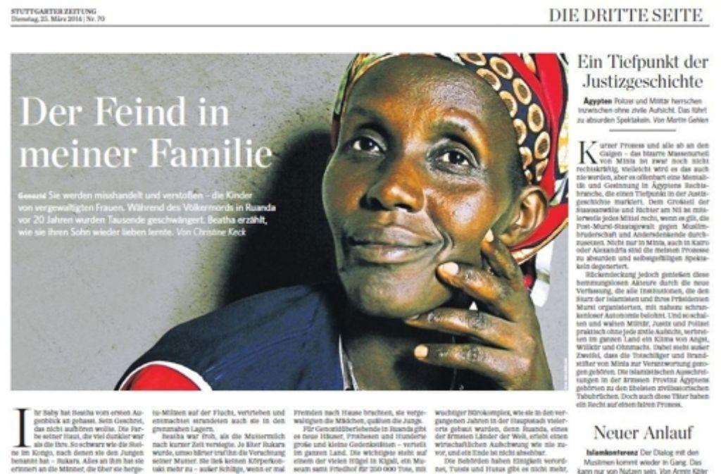 """Die Reportage  """"Der Feind in meiner Familie"""" erschien 2014 in der StZ. Foto: StZ"""