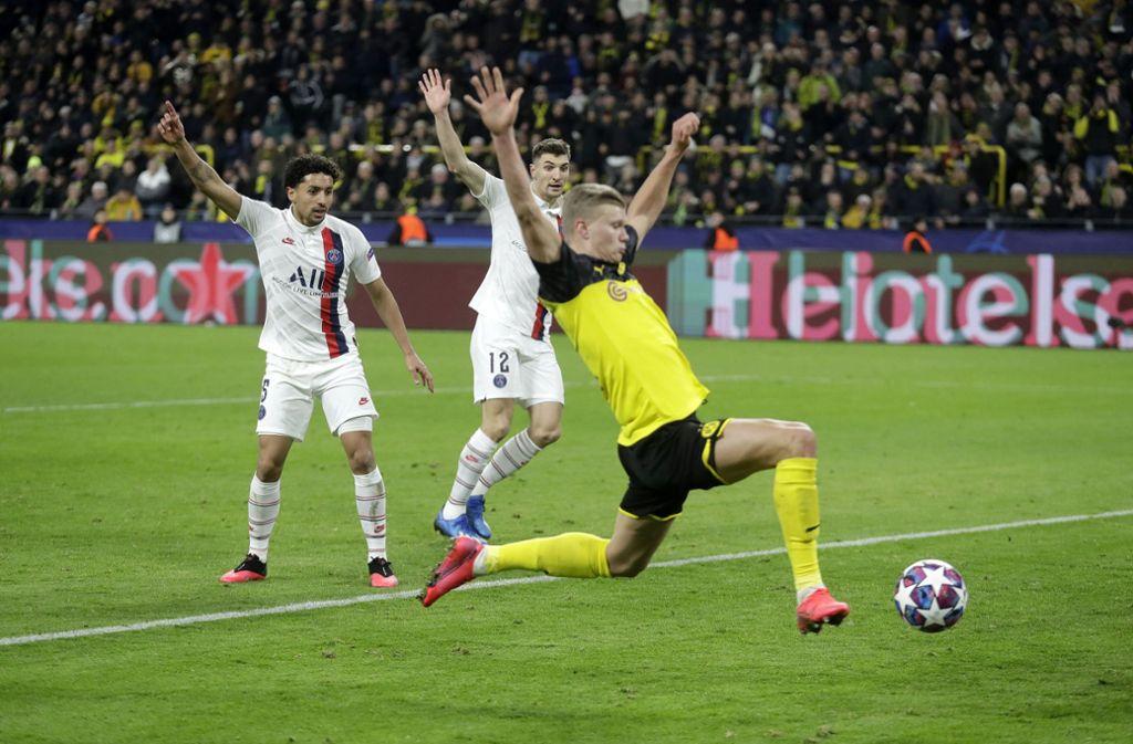 Es waren seine ersten Treffer in der Königsklasse für die Borussia. Foto: AP/Michael Probst