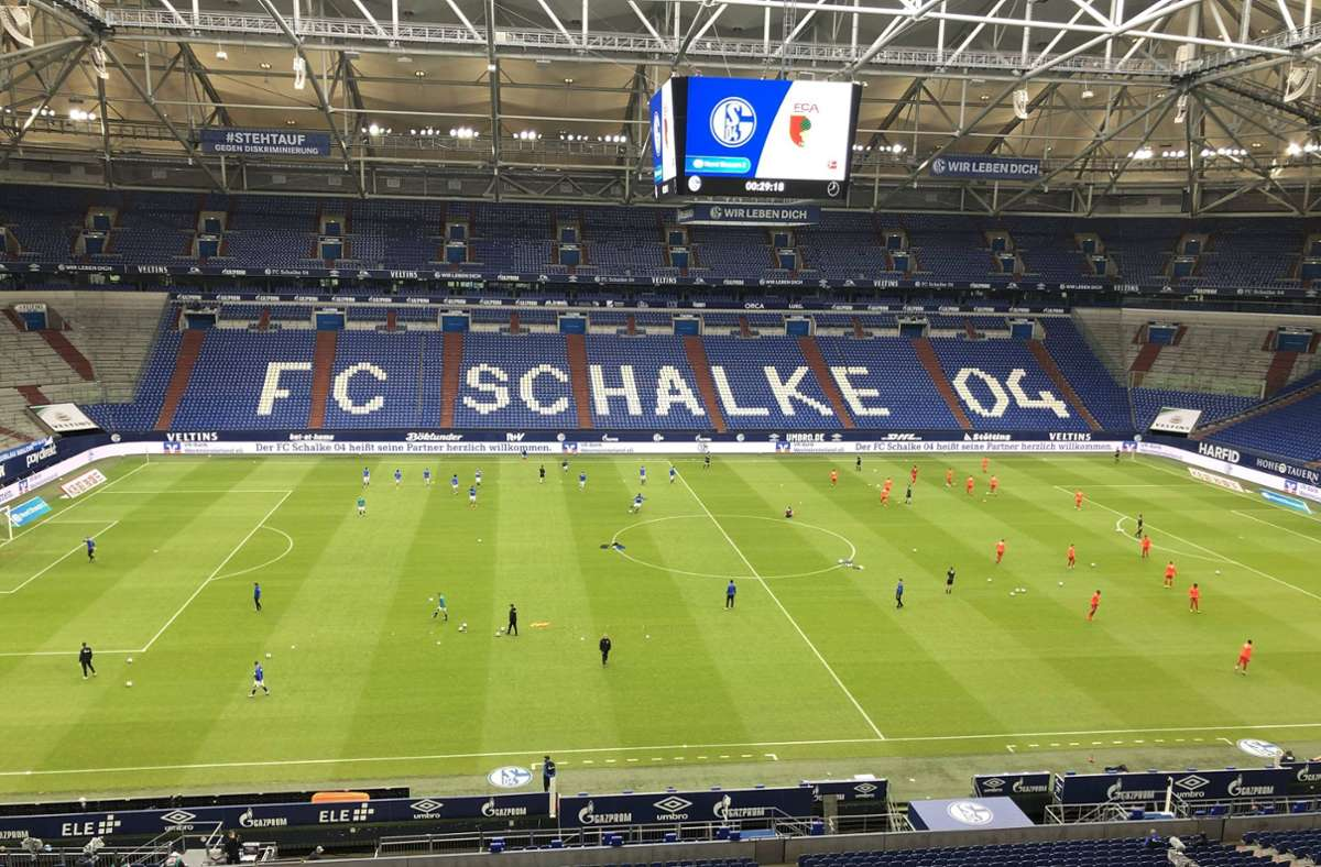 In der Schalker Arena wird es gegen den VfB Stuttgart keine Zuschauer geben. Foto: imago images/Poolfoto