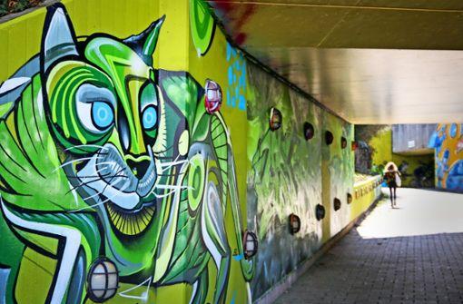 Grelle Graffiti zur Gartenschau