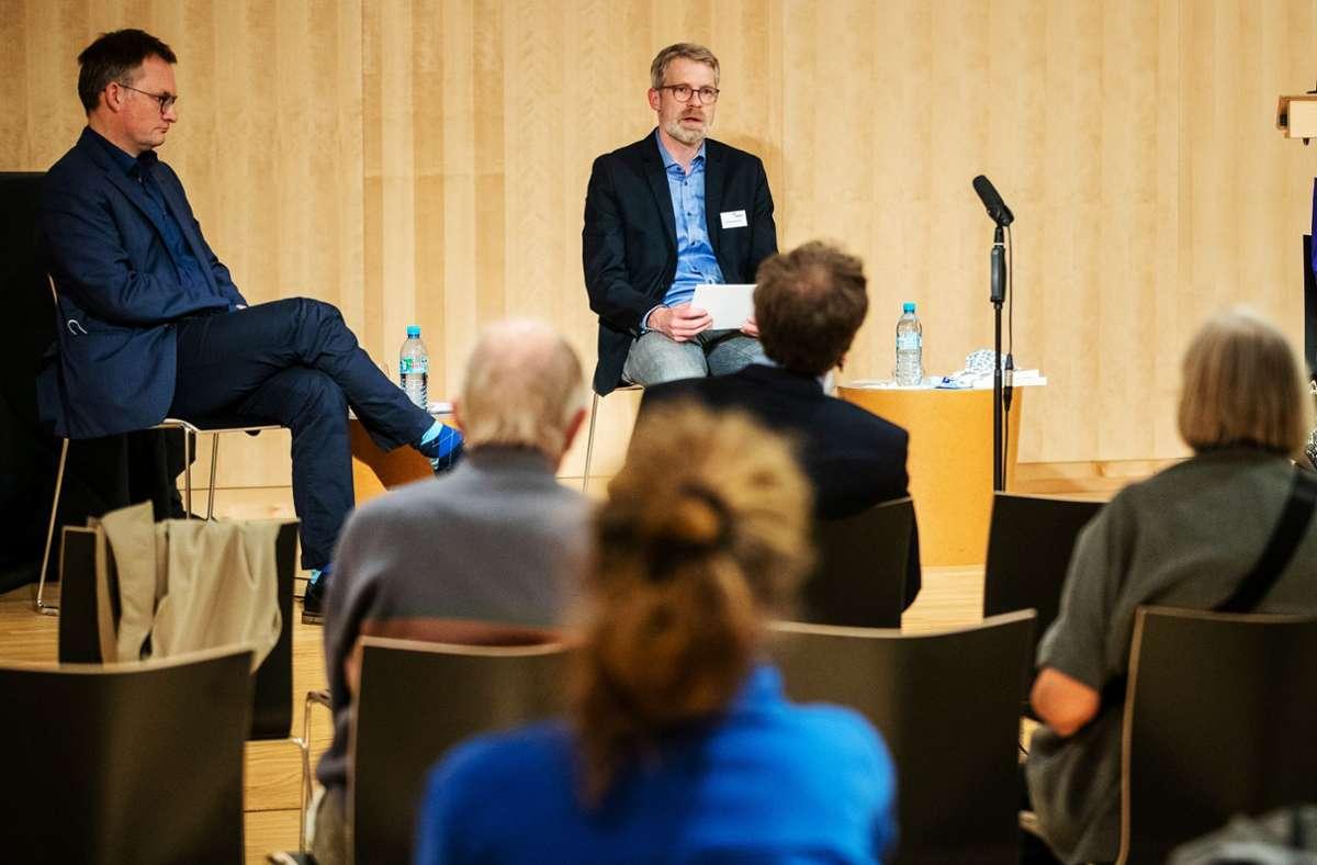 Debatte über Protestkultur:  Gassert (v.li.), Westerhoff und von Stade Foto: Lg/ Schmidt