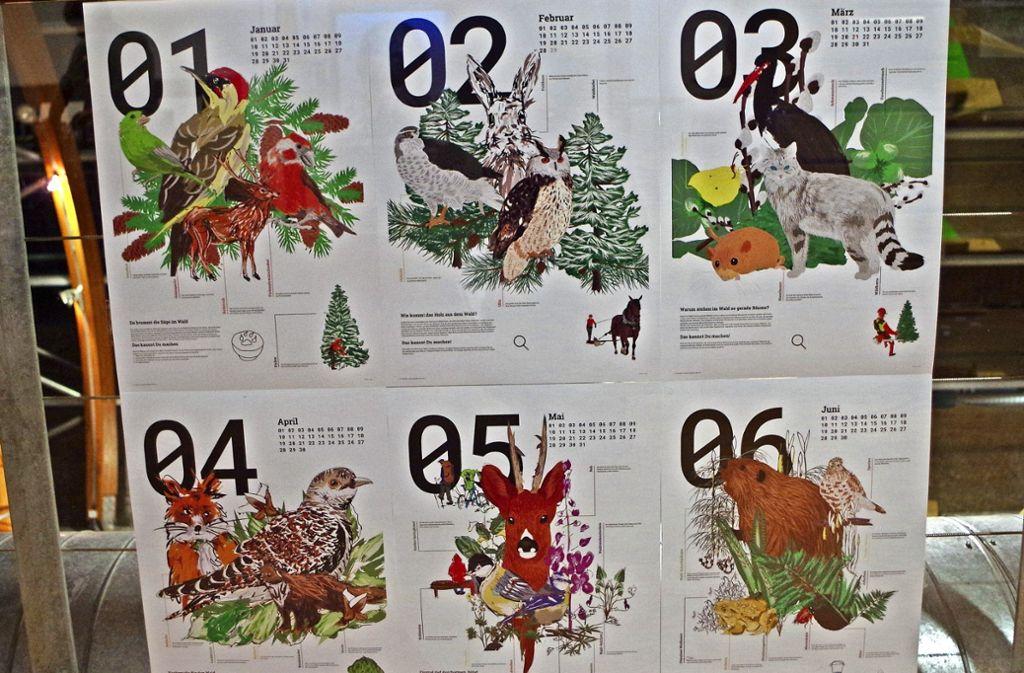 Dieser Waldkalender ist ein Vorschlag von insgesamt 14, zu sehen derzeit in Stuttgart-Degerloch im Haus des Waldes. Foto: Janine Beck