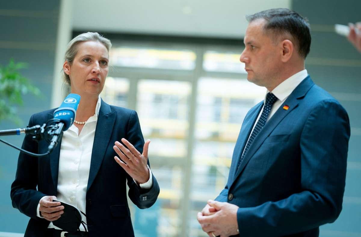 Alice Weidel, Fraktionsvorsitzende der AfD im Bundestag, und Tino Chrupalla, AfD-Bundesvorsitzender Foto: dpa/Kay Nietfeld