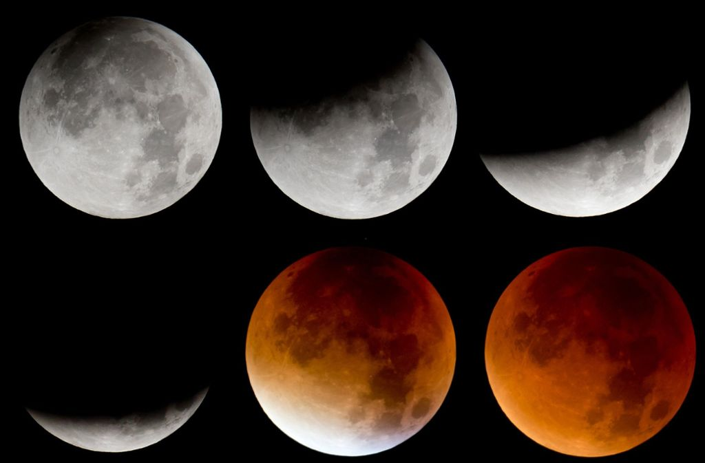 Die Bildkombo zeigt von links oben nach rechts unten die verschiedenen Phasen der totalen Mondfinsternis (Aufnahme vom 28. September 2015). Am Freitag (27. Juli 2018) ist es wieder so weit. Foto: dpa