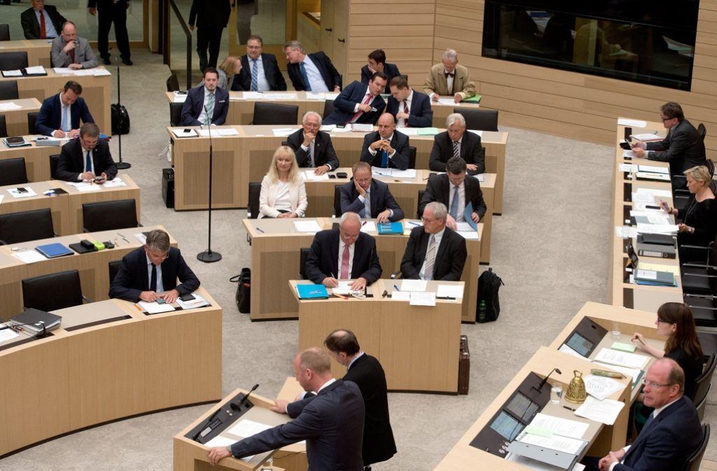 Gespalten: Nur noch acht Mitglieder hat die AfD-Fraktion im Landtag. Foto: dpa