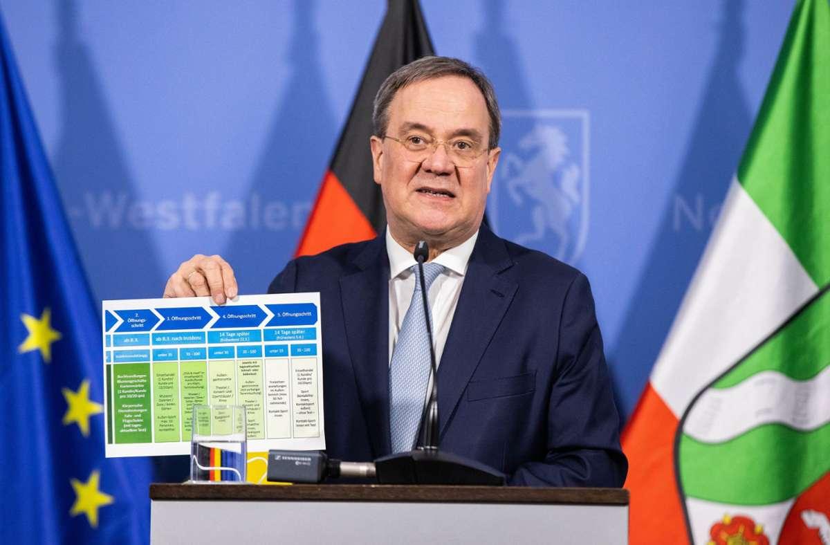 Dieser Stufenplan, den am Mittwoch unter anderem Nordrhein-Westfalens Ministerpräsident Armin Laschet  in die Kameras hielt, ist vom  Coronagipfel verabschiedet worden. Foto: dpa/Marcel Kusch