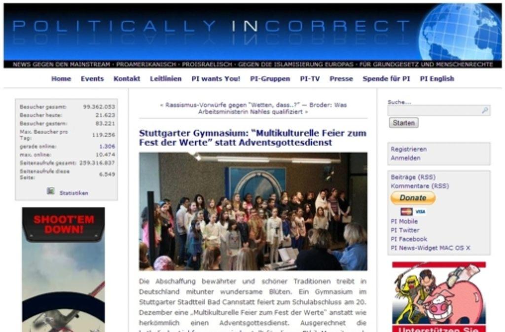 ... der Seite pi-news veröffentlicht, auf der sich regelmäßig Beiträge und Meinungen vom rechten Rand finden.  Foto: Screenshot