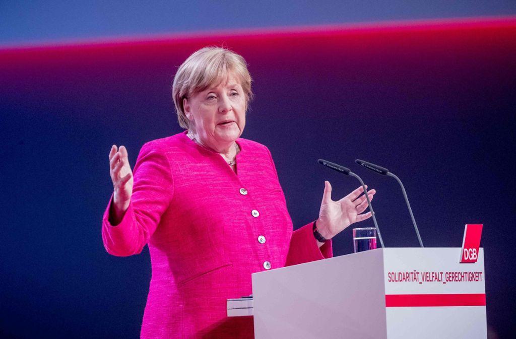 Bundeskanzlerin Angela Merkel spricht auf dem DGB-Bundeskongress in Berlin. Foto: dpa