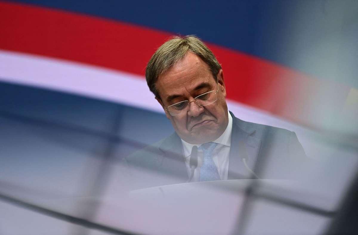 """""""Natürlich weiß ich, dass ich einen persönlichen Anteil an dem Wahlergebnis habe"""" – CDU-Kandidat Armin Laschet am Montag nach der Wahlniederlage. Foto: AFP/Ina Fassbender"""