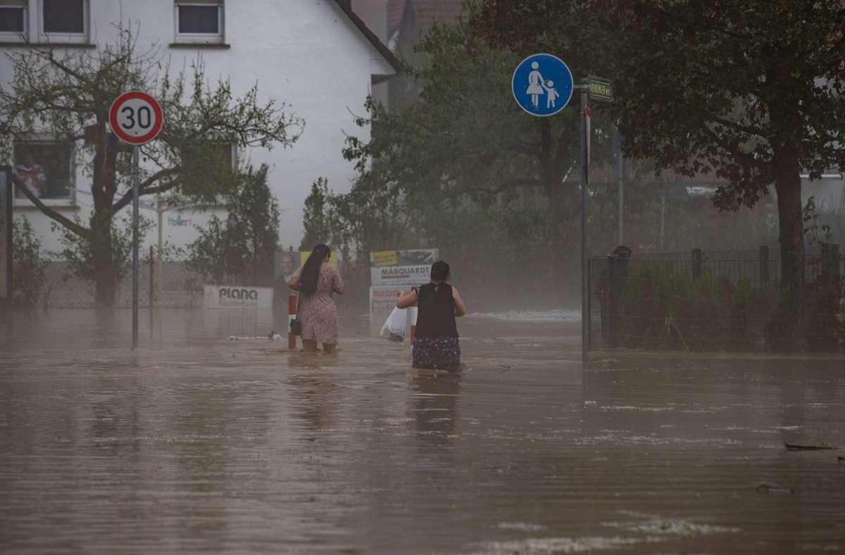 In Kirchheim unter Teck stand das Wasser mehr als kniehoch. Foto: 7aktuell.de/Simon Adomat