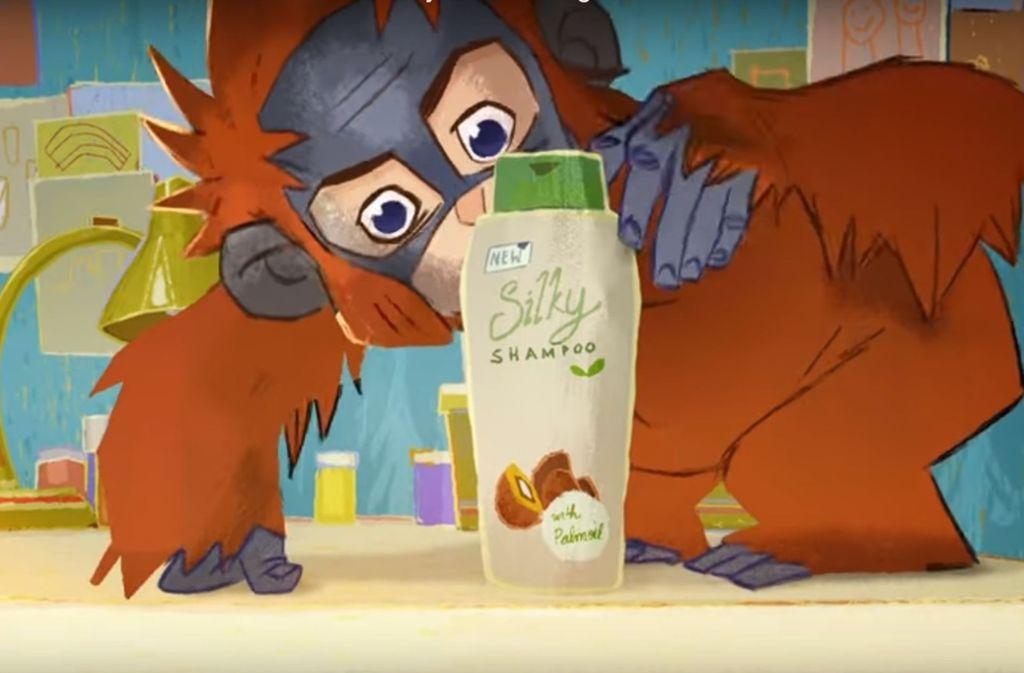 """Als Werbefilm nicht zugelassen: Der kleine Held von """"Rang Tan"""" ärgert sich über ein Shampoo mit Palmöl. Foto: Youtube"""