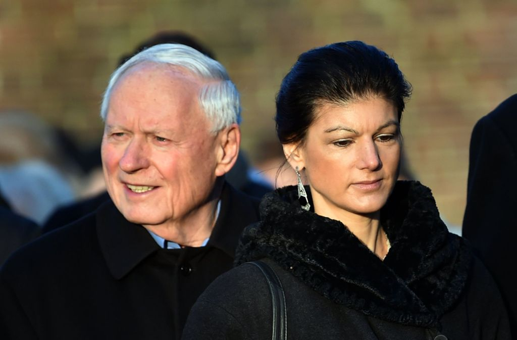 """Linkspartei-Fraktionschefin Sahra Wagenknecht und der frühere SPD-Chef Oskar Lafontaine haben """"Aufstehen"""" entworfen. Foto: dpa"""