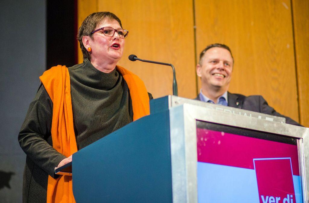 Harmonischer Wechsel bei der Gewerkschaft: Leni Breymaier und ihr  Nachfolger Martin Gross. Foto: dpa