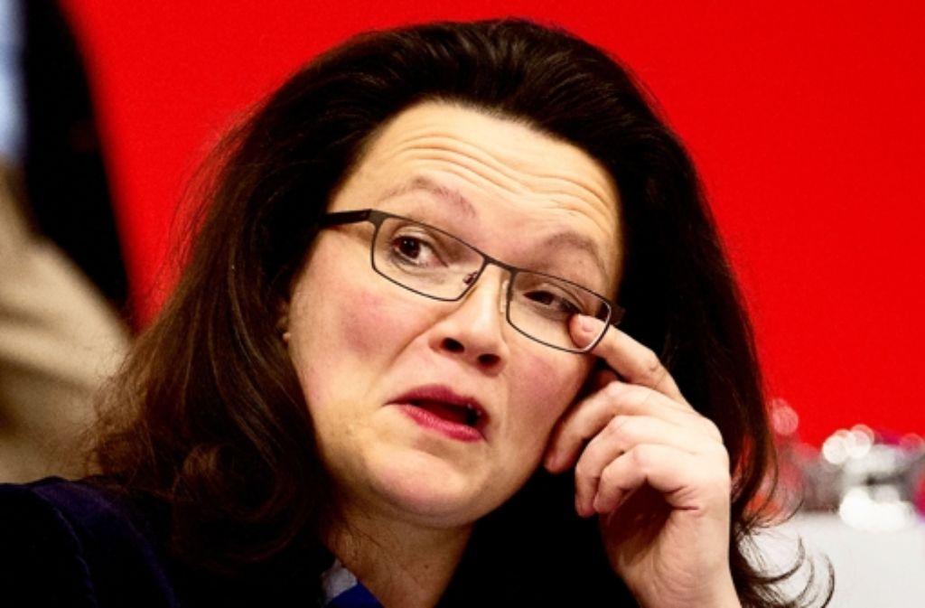 Andrea Nahles hat von der Basis die Sündenbock-Rolle bekommen. Sie hat von der Parteispitze am schlechtesten abgeschnitten Foto: dpa