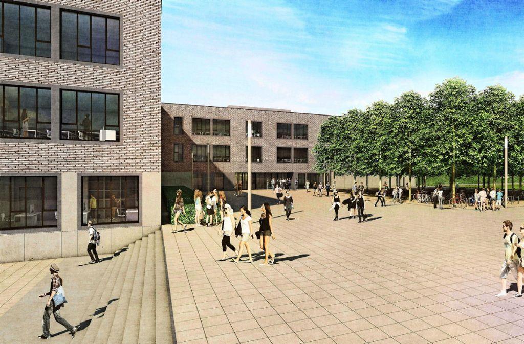 Kein abgesperrter Schulhof: Schulgelände und öffentlicher Raum sollen in Freiberg ineinander übergehen. Foto: mvm+starke architekten