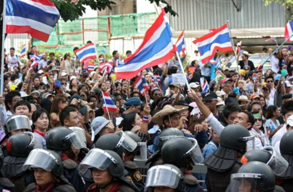 Die Proteste in Thailands Hauptstadt Bangkok dauern an. Foto: dpa