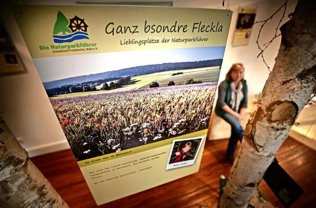 Die Naturparkführerin Beate Siegel  empfiehlt in der Ausstellung eine Visite des zu Kaisersbach gehörenden Weilers Schloßhof, wegen der grandiosen Landschaft. Foto: Gottfried Stoppel