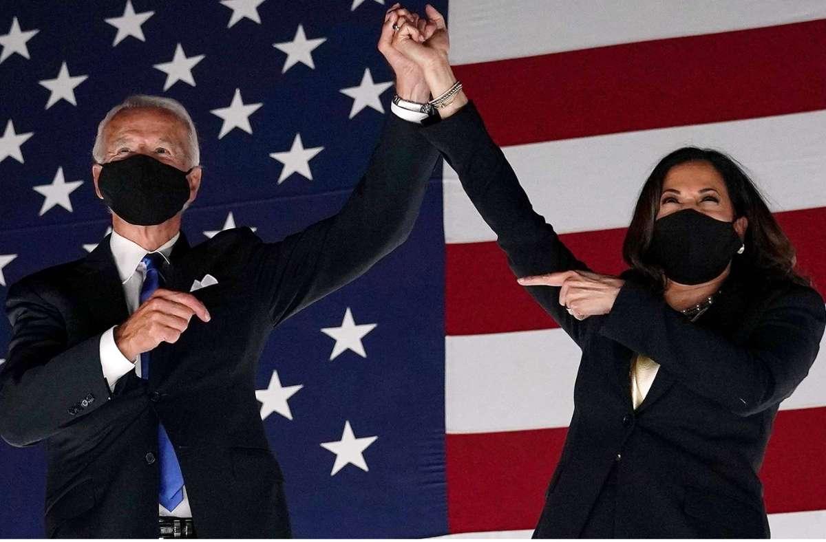 """Joe Biden und Kamala Harris wurden vom """"Time Magazine"""" zu den Personen des Jahres gekürt. Foto: AFP/OLIVIER DOULIERY"""