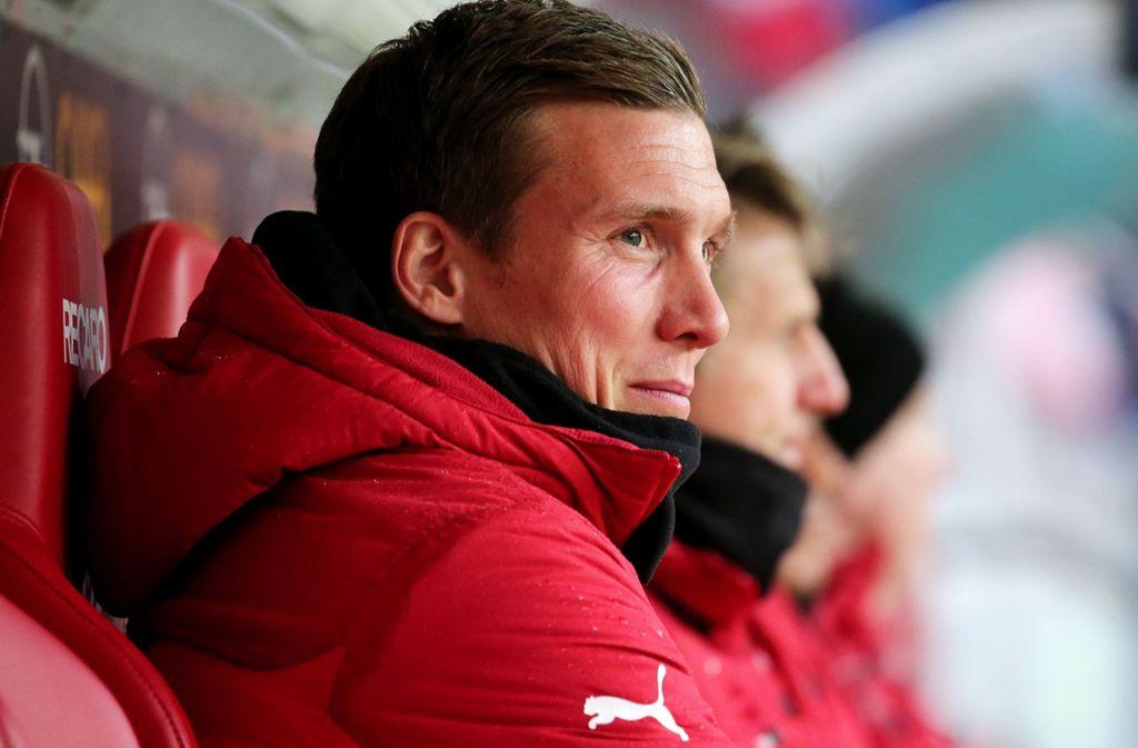 VfB-Trainer Hannes Wolf spricht ab 13.30 Uhr zu den Medienvertretern. Foto: Pressefoto Baumann