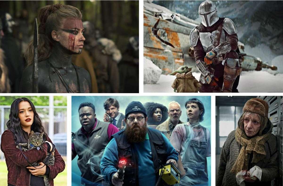 """Neuer Serienstoff: """"Barbaren"""", """"The Mandalorian 2"""", """"Hausen"""", """"Truth Seekers"""". """"Dollface"""" (von links oben im Uhrzeigersinn): Unsere Bildergalerie verrät, welche zehn Serien Sie im Oktober im Blick haben sollten. Foto: Sky,  Amazon Prime, Netflix (2), Disney+"""