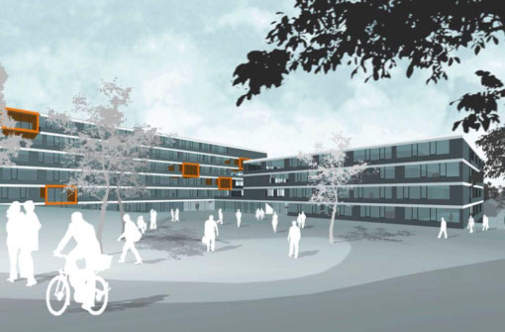 Auf einer Fläche von rund 14.000 Quadratmetern entsteht das neue Berufsschulzentrum. Der Schulhof (vorne) befindet sich auf der Südseite. Foto: Arge Kubus/Glück+Partner