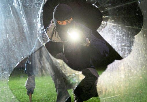 Einbrecher springt durch Türscheibe