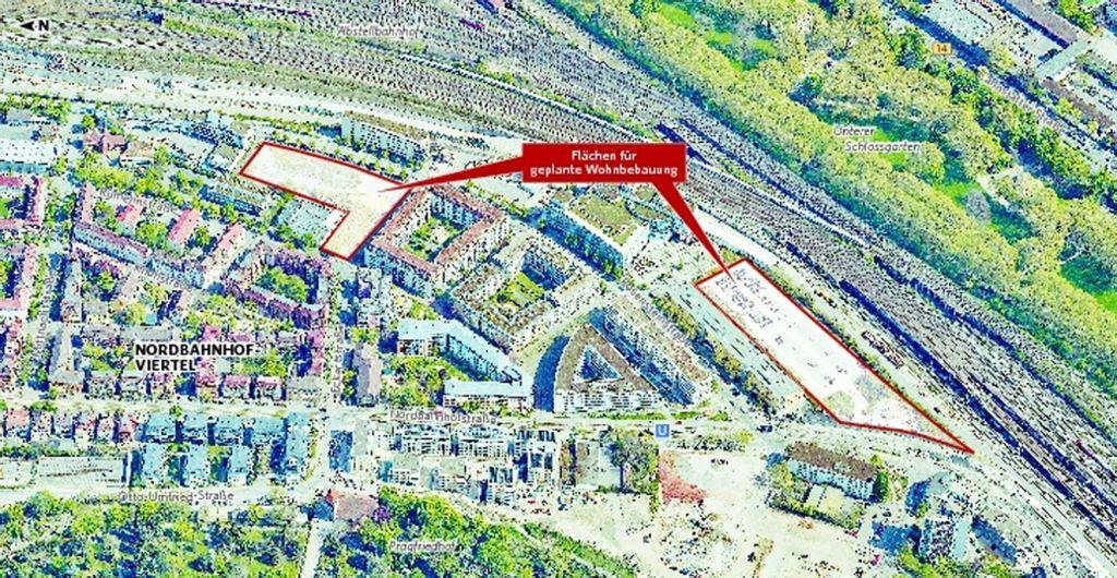 Auf diesen beiden Flächen möchte ein Münchner Investor 500 Wohnungen bauen und zudem Gewerbeflächen bieten. Foto: © 2017 Stadtmessungsamt Stuttgart / StZ-Bearbeitung: yann