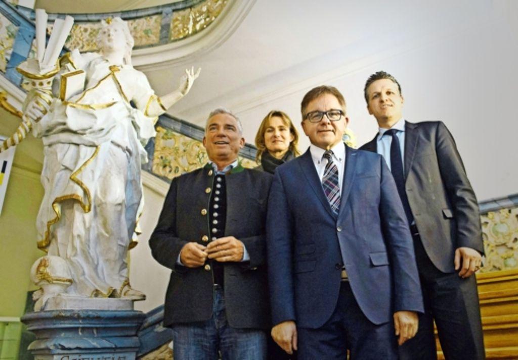 Die Spitze der Landes-CDU (von links): Parteichef  Strobl, Generalsekretärin Schütz, Spitzenkandidat Wolf, Wahlkampfleiter Frei Foto: dpa