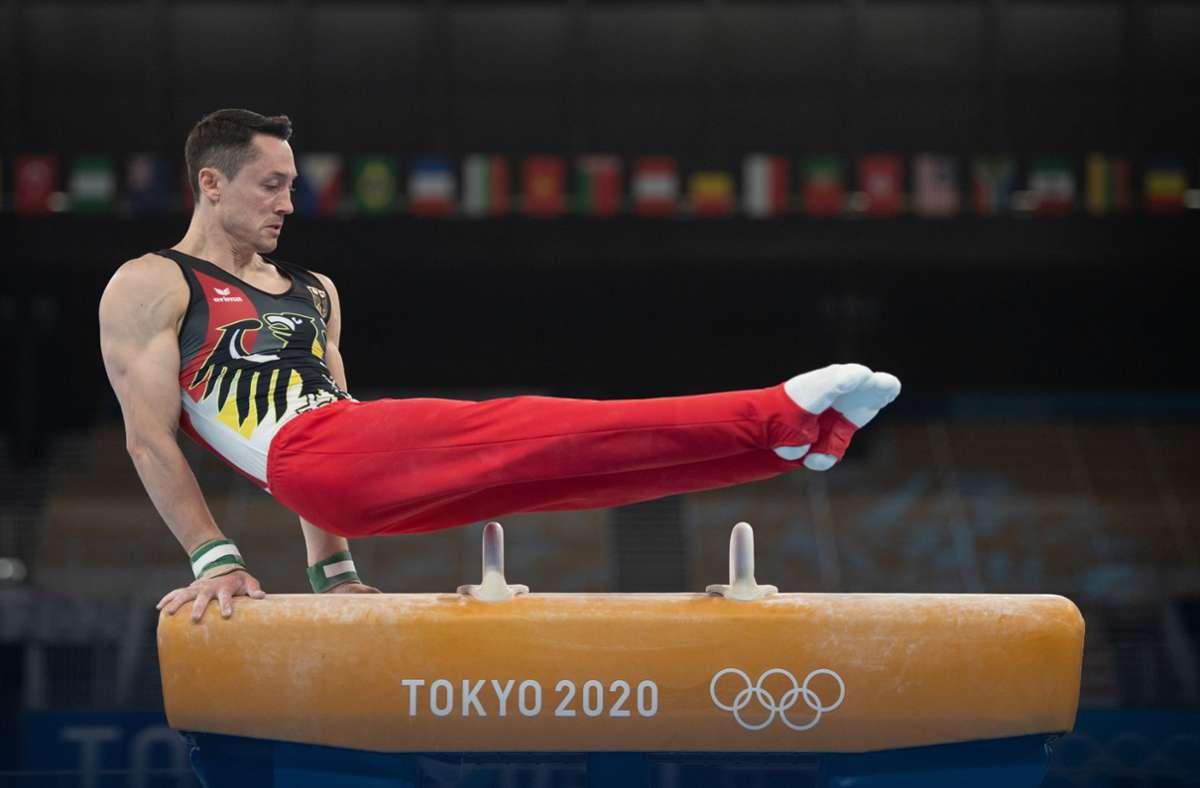 Andreas Toba und seine Mannschaftskollegen haben sich für das Finale qualifiziert. Am Montag um 12 Uhr geht es um die Medaillen. Foto: dpa/Marijan Murat