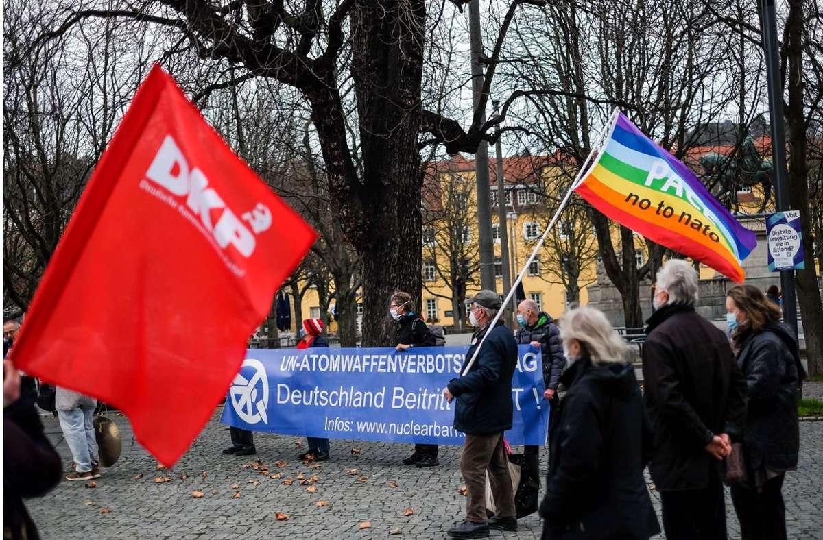 Kundgebung gegen Atomwaffen auf dem Karlsplatz Foto: Lichtgut/Max Kovalenko