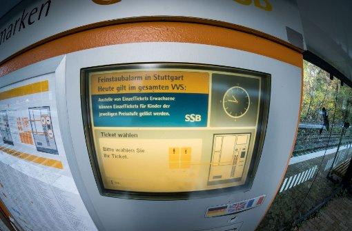Die Ticketautomaten der SSB sind besonders während des Feinstaubalarms viel gefragt. Foto: Lichtgut/Achim Zweygarth