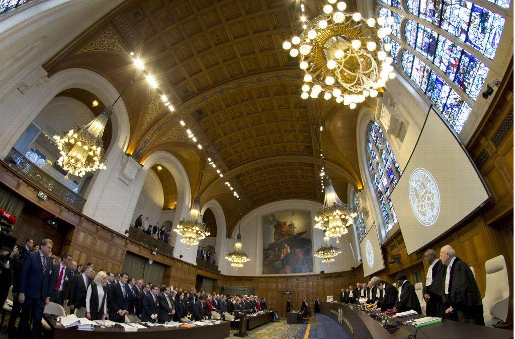 Der Internationale Gerichtshof in Den Haag verhandelt über eine Klage der Ukraine. Foto: AP