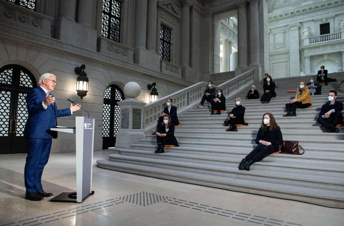 Bundespräsident Frank-Walter Steinmeier hält in der  Staatsbibliothek zu Berlin eine Rede an die Studierenden der Hochschulen in Deutschland Foto: dpa/Bernd von Jutrczenka