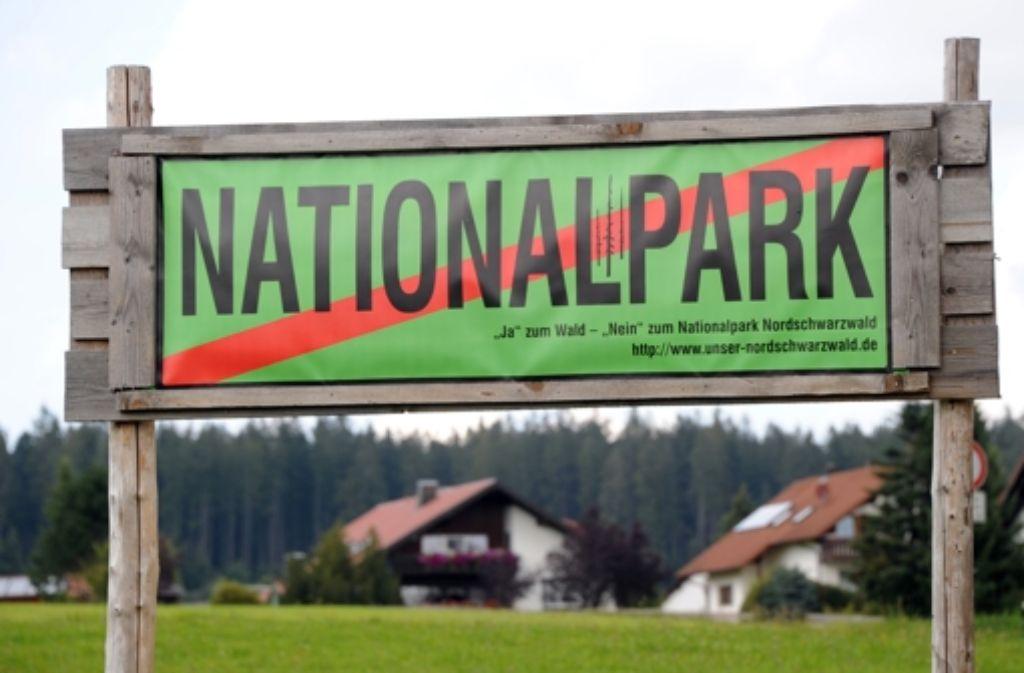 Protest gegen den geplanten Nationalpark in Baiersbronn. Foto: dpa