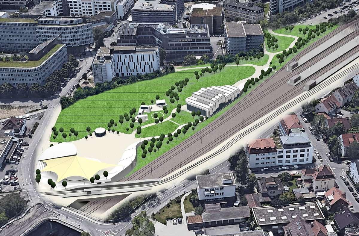 Zum Konzept gehören (von links) ein großes Freilichttheater nahe der Haltestelle Jurastraße, Büros und kleine Werkstätten sowie eine Trainingshalle. Foto: privat/cf