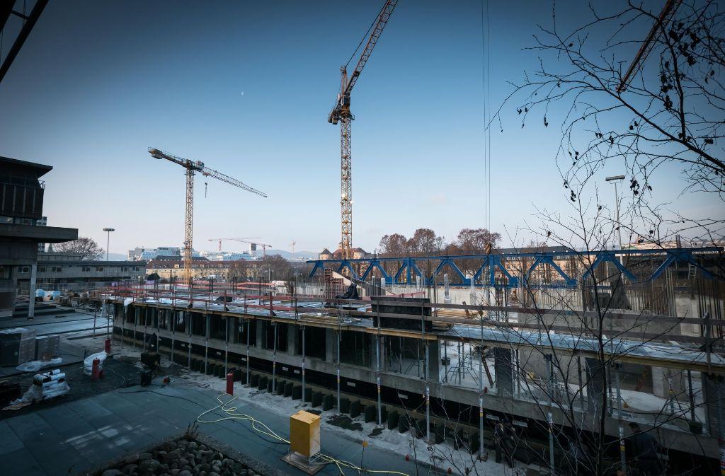 Die Baustelle der Landesbibliothek. Foto: Lichtgut/Achim Zweygarth