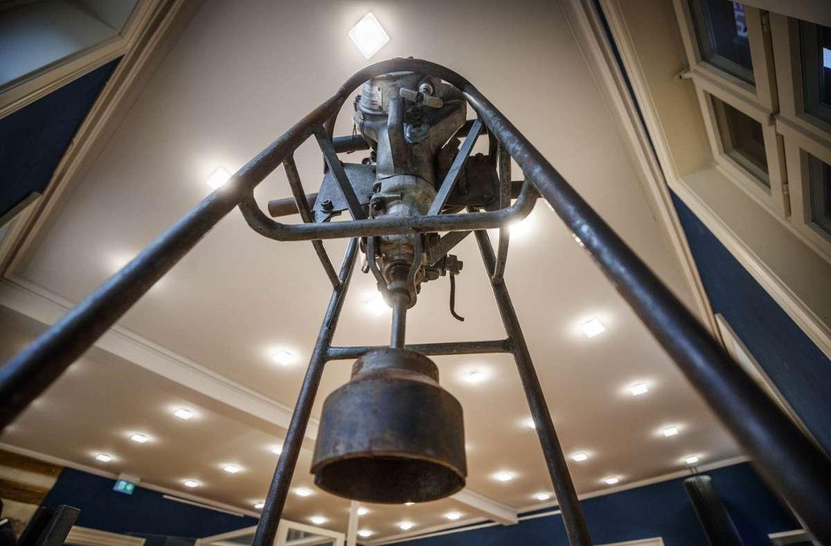 In der Ausstellung im Württemberg-Haus ist unter anderem eine motorisierte Pfahlramme zu sehen Foto: © C) Gottfried Stoppel
