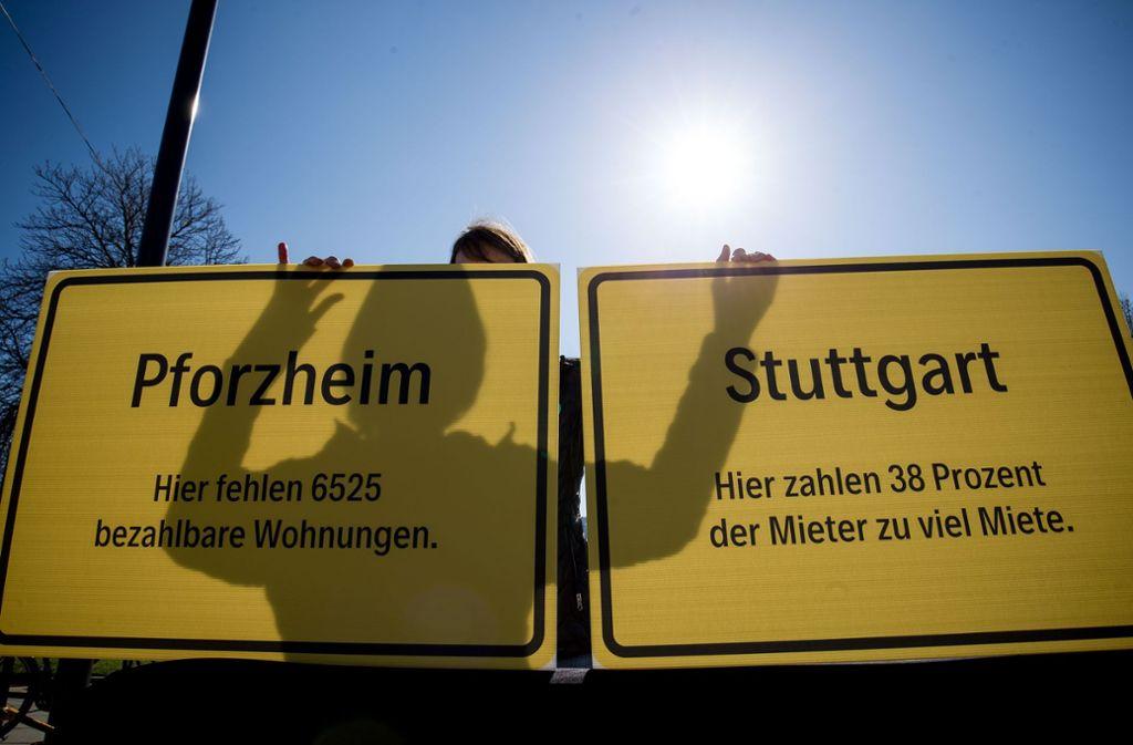 Protest gegen fehlende Wohnungen in Stuttgart. Foto: Lichtgut/Leif-H.Piechowski